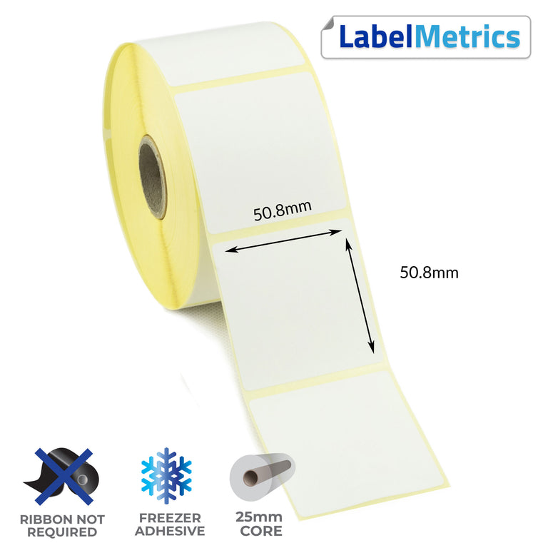 50.8 x 50.8mm Direct Thermal Labels - Freezer Adhesive