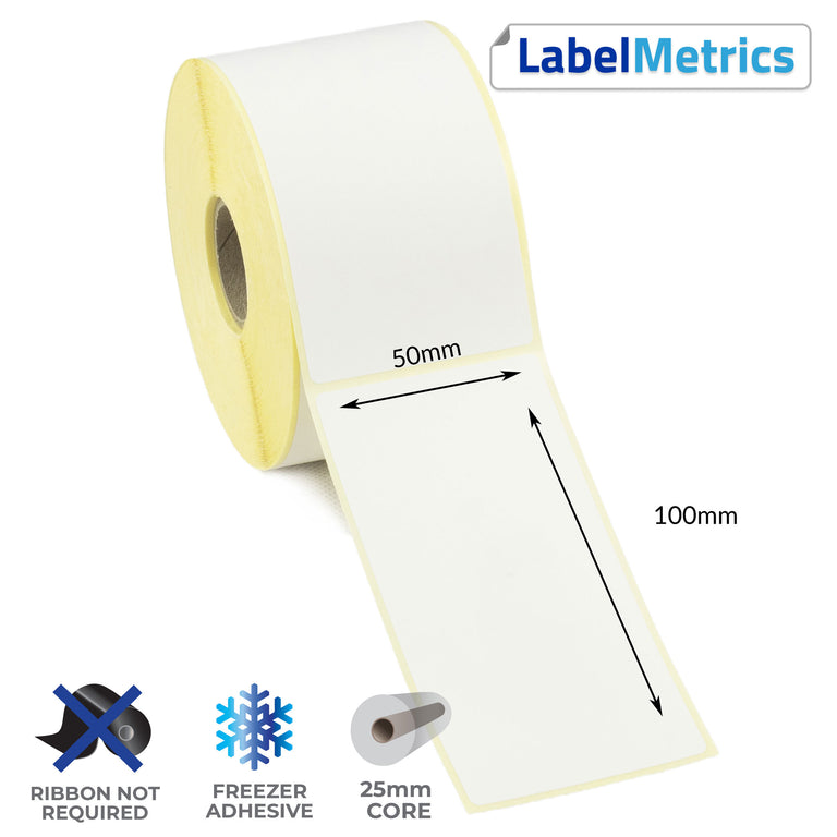 50 x 100mm Direct Thermal Labels - Freezer Adhesive