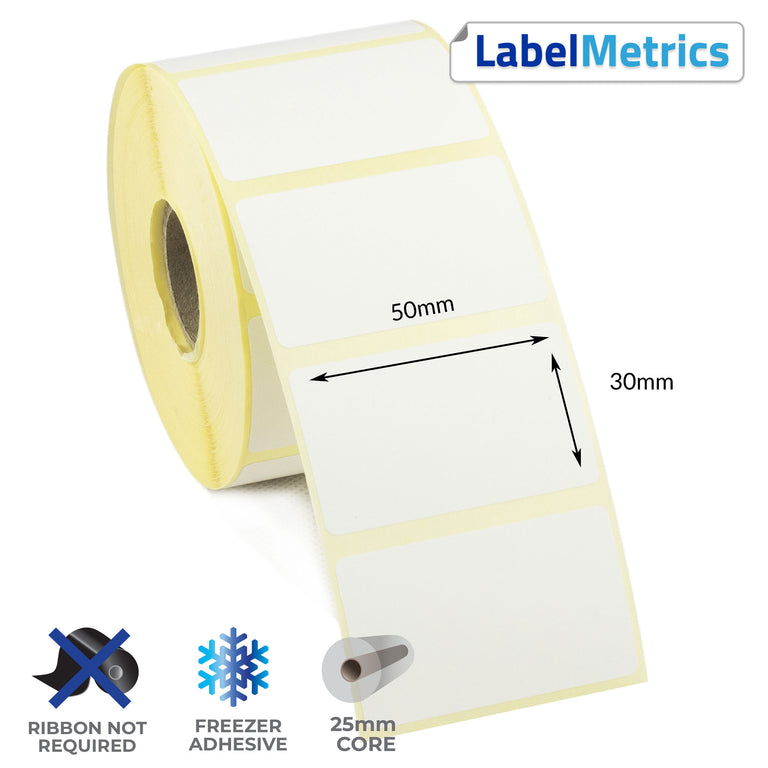 50 x 30mm Direct Thermal Labels - Freezer Adhesive