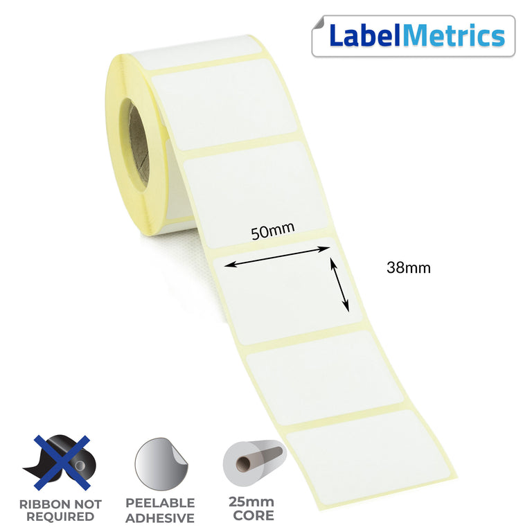 50 x 38mm Direct Thermal Labels - Removable Adhesive