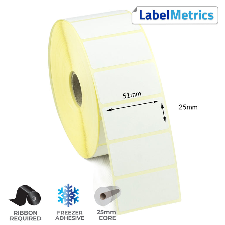 51 x 25mm Thermal Transfer Labels - Freezer Adhesive