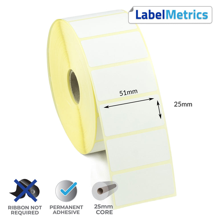 51 x 25mm Direct Thermal Labels - Permanent Adhesive