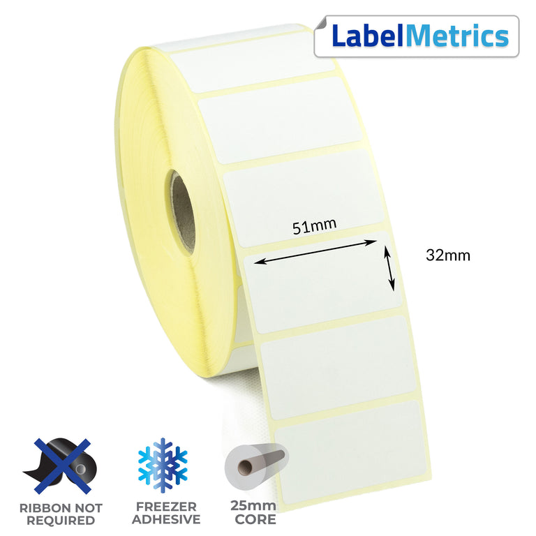 51 x 32mm Direct Thermal Labels - Freezer Adhesive