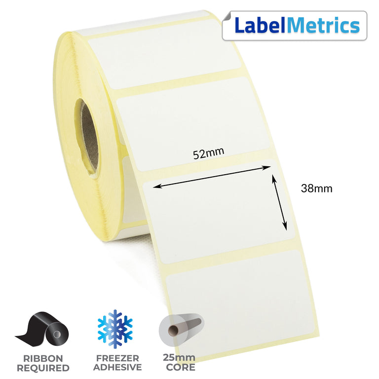 52 x 38mm Thermal Transfer Labels - Freezer Adhesive