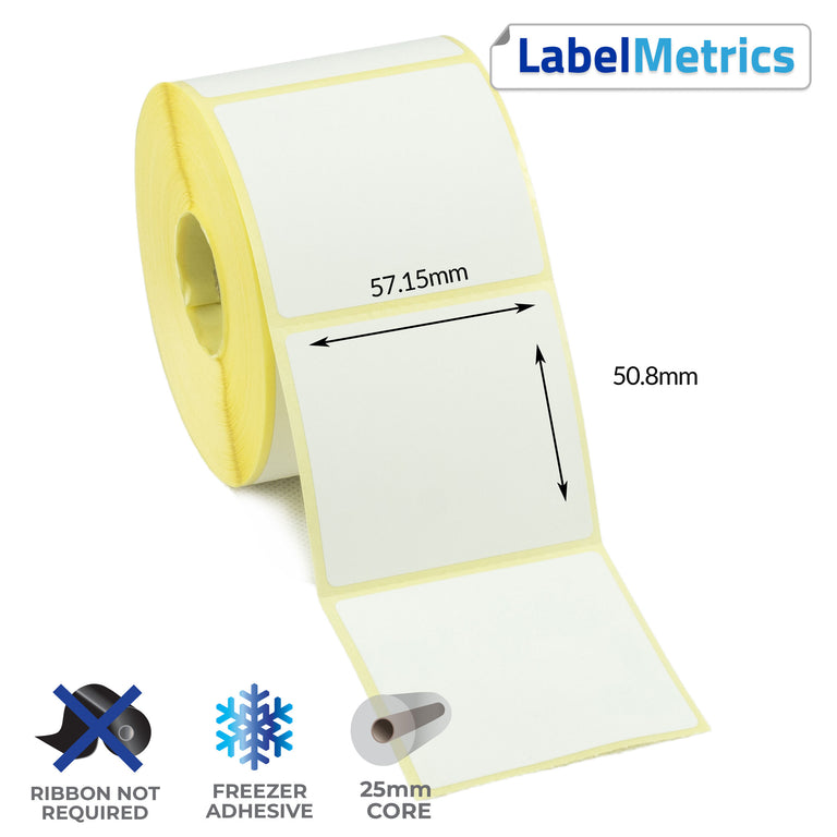 57.15 x 50.8mm Direct Thermal Labels - Freezer Adhesive