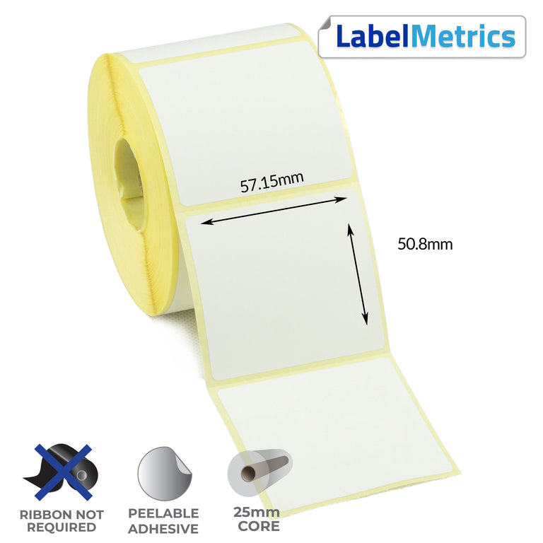 57.15 x 50.8mm Direct Thermal Labels - Removable Adhesive