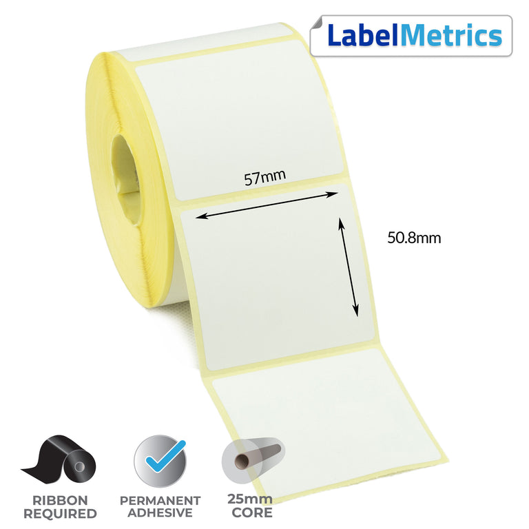 57 x 50.8mm Thermal Transfer Labels - Permanent Adhesive
