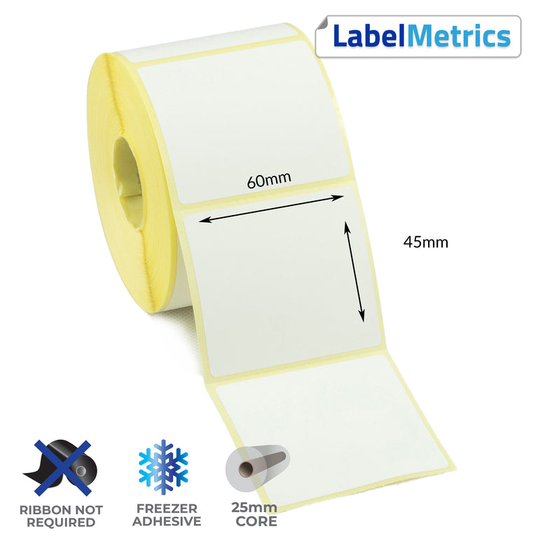 60 x 45mm Direct Thermal Labels - Freezer Adhesive