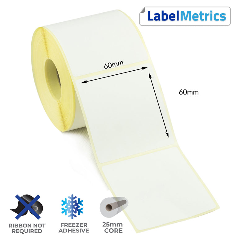 60 x 60mm Direct Thermal Labels - Freezer Adhesive
