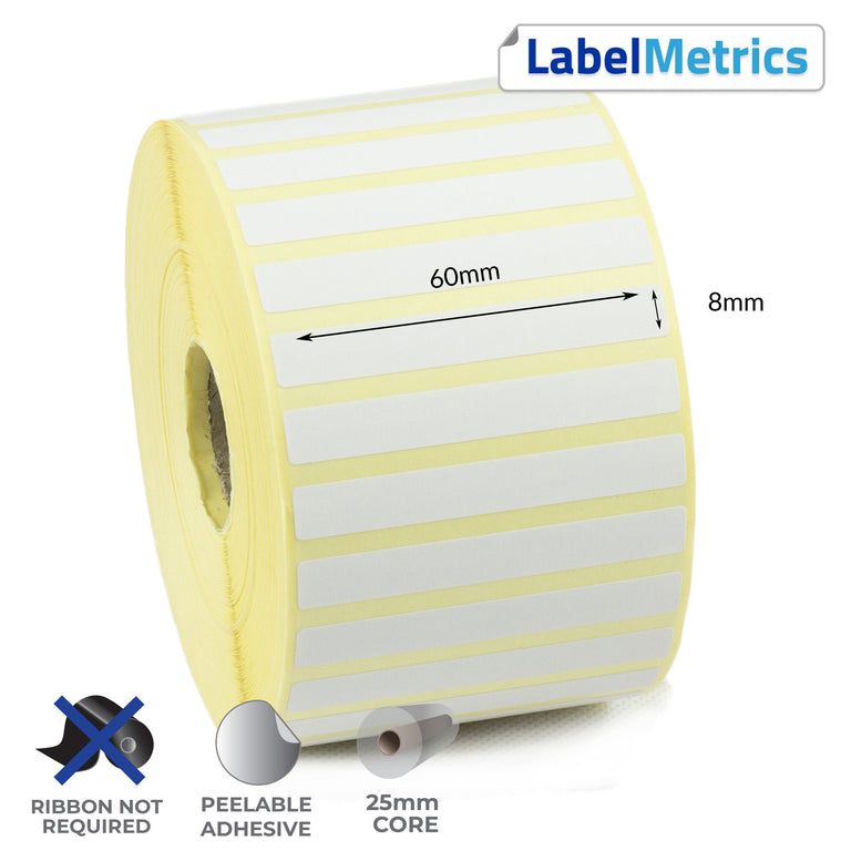 60 x 8mm Direct Thermal Labels - Removable Adhesive