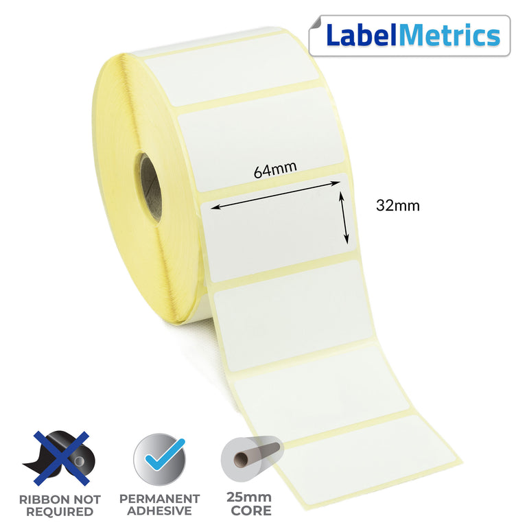 64 x 32mm Direct Thermal Labels - Permanent Adhesive