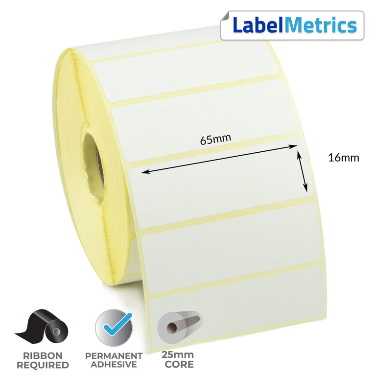 65 x 16mm Thermal Transfer Labels - Permanent Adhesive