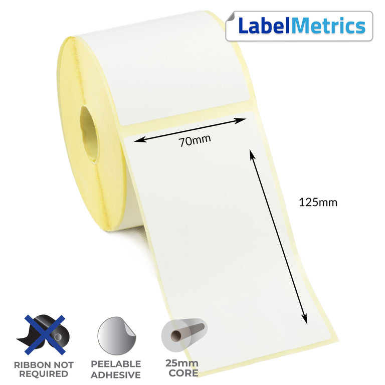 70 x 125mm Direct Thermal Labels - Removable Adhesive