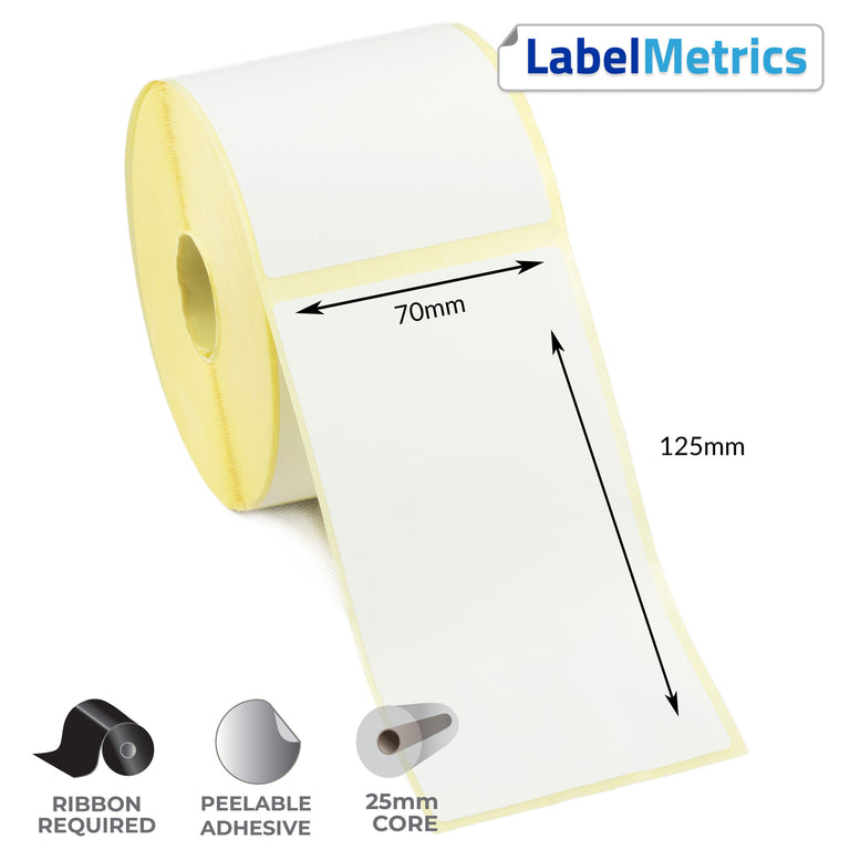 70 x 125mm Thermal Transfer Labels - Removable Adhesive