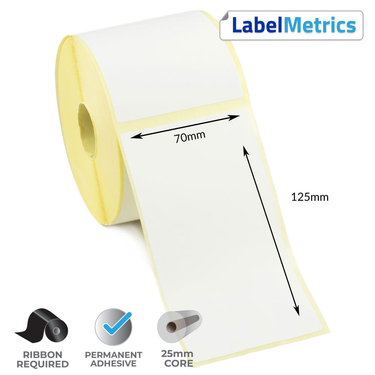 70 x 125mm Thermal Transfer Labels - Permanent Adhesive