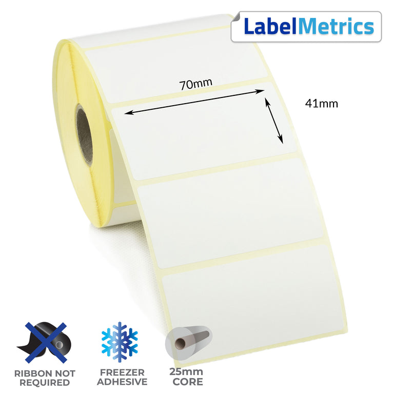 70 x 41mm Direct Thermal Labels - Freezer Adhesive