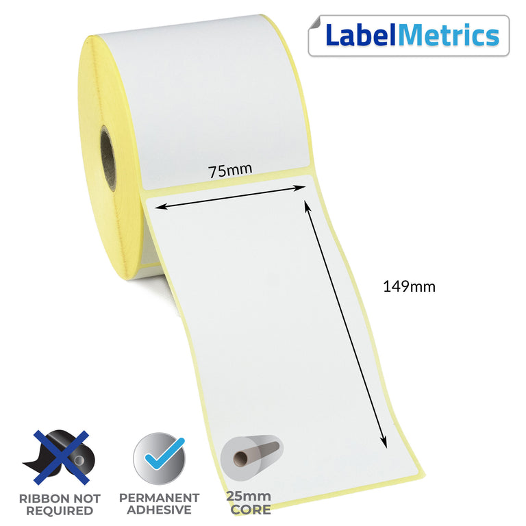 75 x 149mm Direct Thermal Labels - Permanent Adhesive