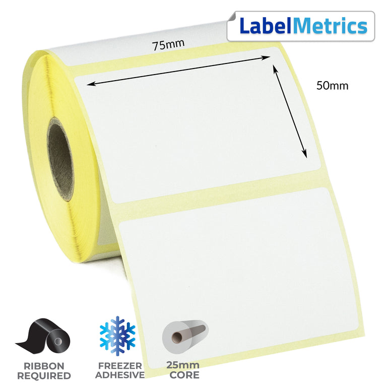 75 x 50mm Thermal Transfer Labels - Freezer Adhesive
