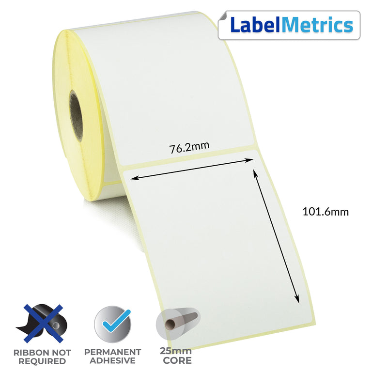 76.2 x 101.6mm Direct Thermal Labels - Permanent Adhesive