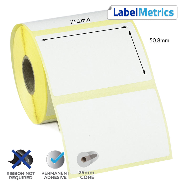 76.2 x 50.8mm Direct Thermal Labels - Permanent Adhesive