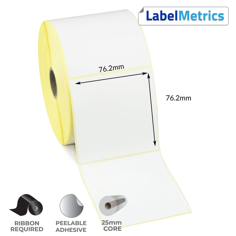 76.2 x 76.2mm Thermal Transfer Labels - Removable Adhesive
