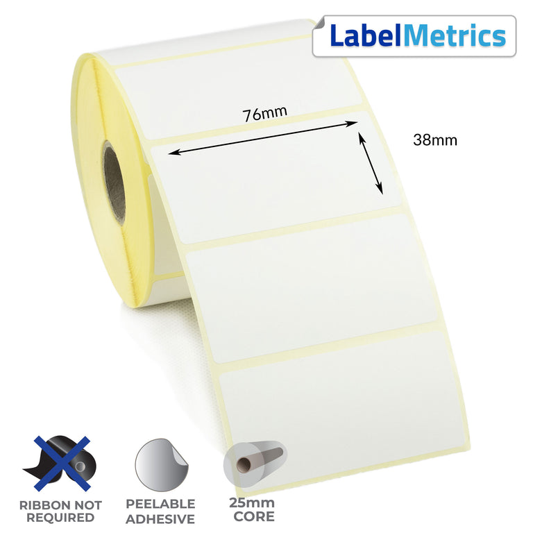76 x 38mm Direct Thermal Labels - Removable Adhesive