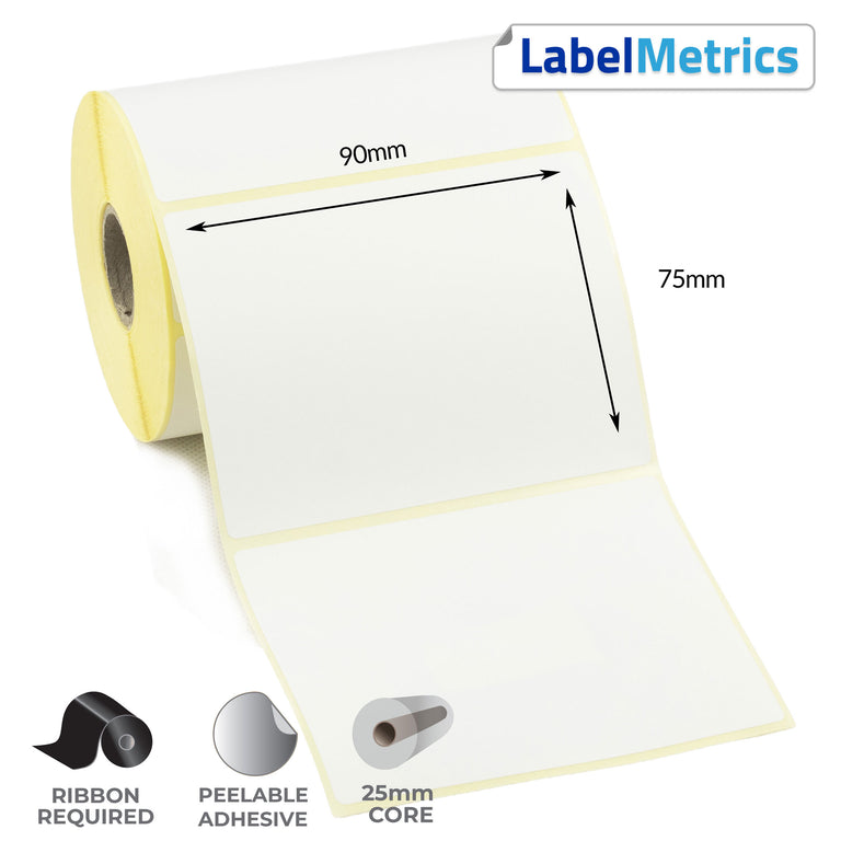 90 x 75mm Thermal Transfer Labels - Removable Adhesive