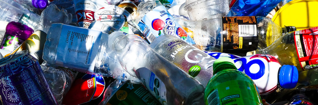 Plastic bottles accumulating for recycling