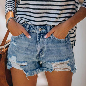 Sheena Distressed Denim Shorts