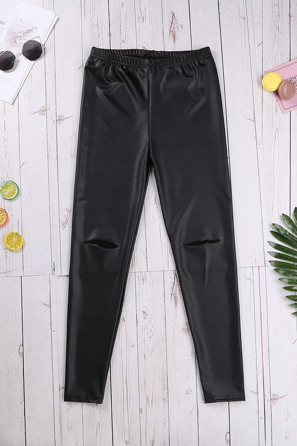 Black Skinny Faux Leather Hollow Leggings