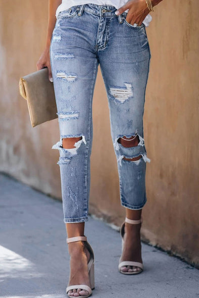 Blue Baby Distressed Crop Jeans