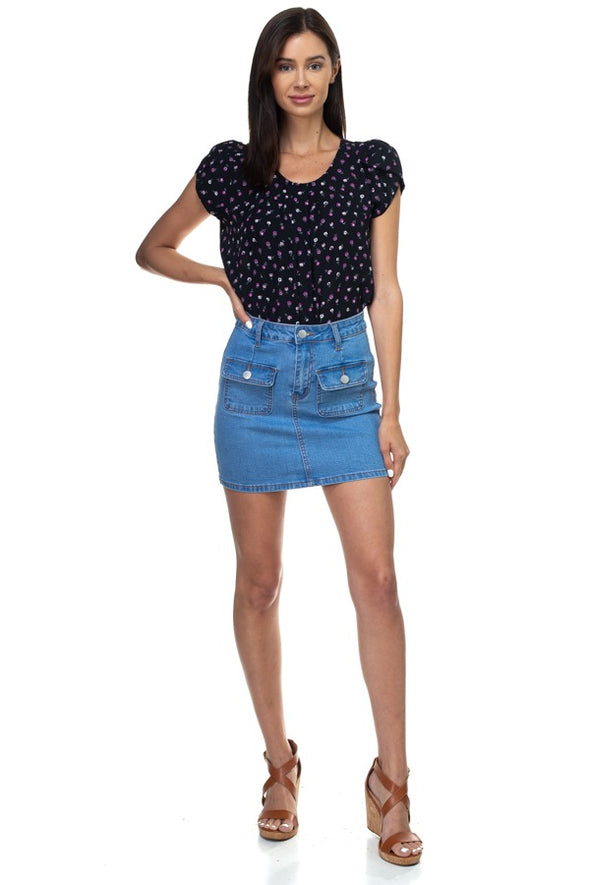 Her Tulip Short Sleeve Pleated ShirtTop