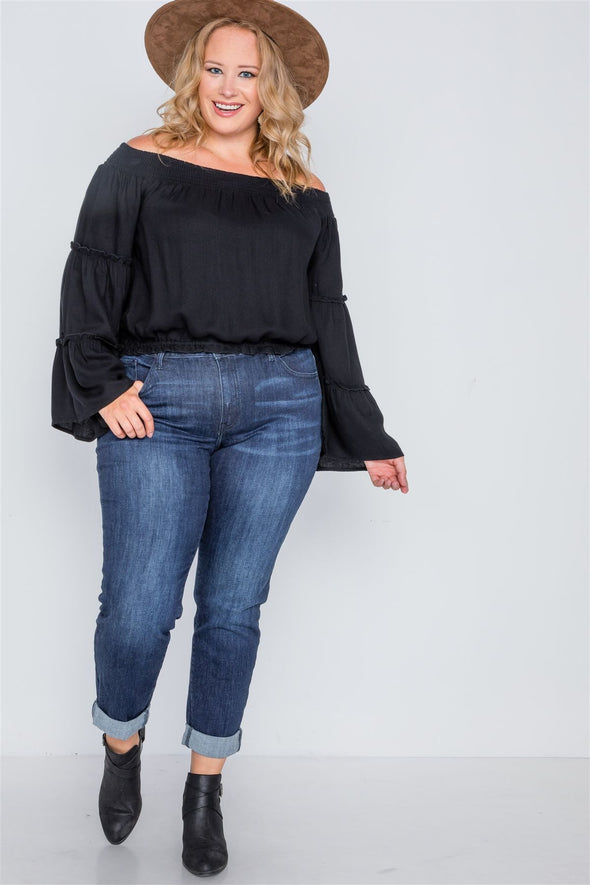 Lillian Off-the-shoulders Bell Sleeve Top