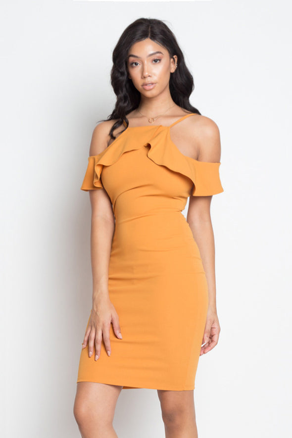 Rylee Ruffle Open Shoulder Halter Dress