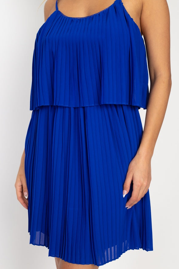 In the Night Pleated Mini Dress