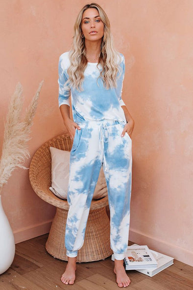 Super Sky Blue Tie Dye Joggers Set