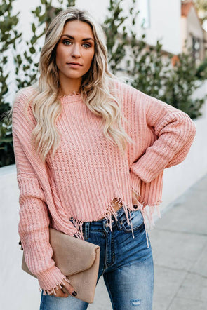 Tainted Pink Cotton Distressed Sweater