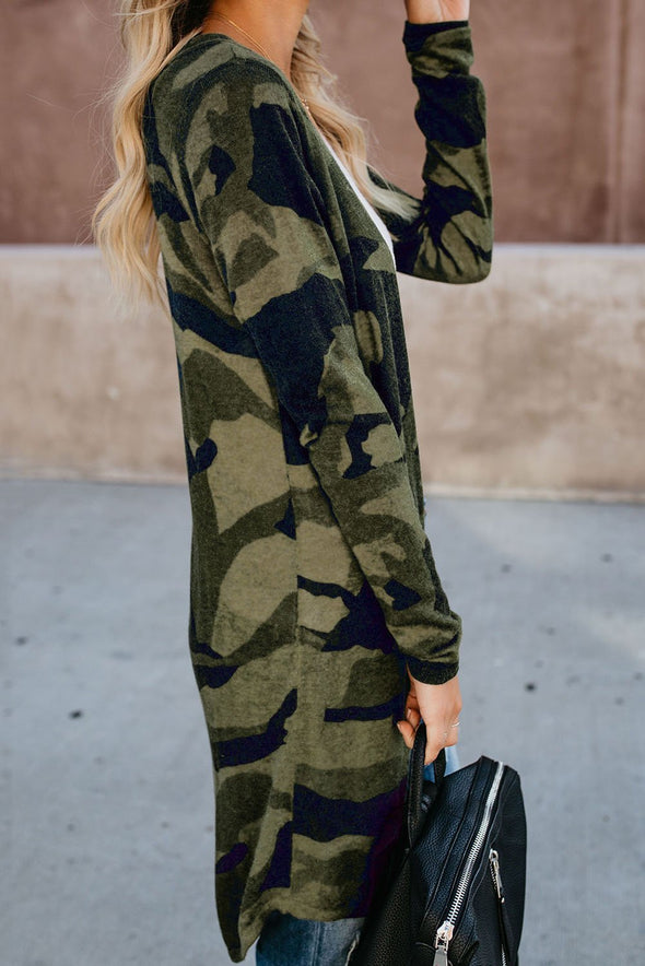 Her Green Camo Long Cardigan