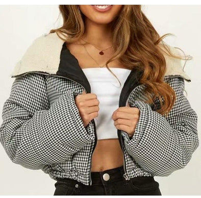 Puffer Puff Jacket Black Check Winter Short Warm Coat