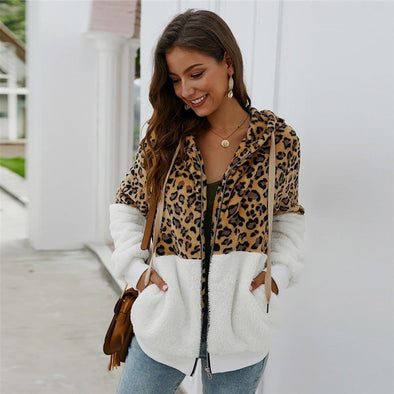 Soft Leopard Drawstring Hooded
