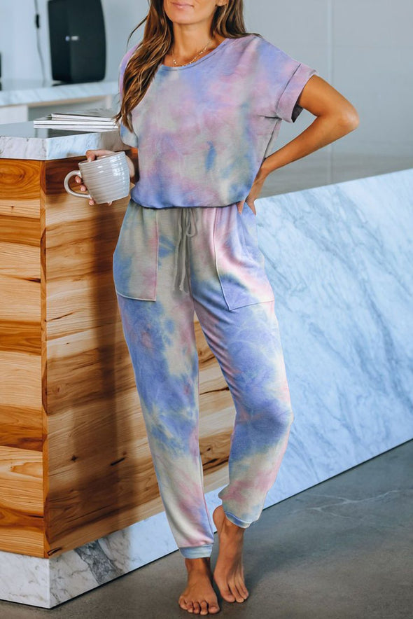 Oh Her Tie-dye Short Sleeve Knit Jumpsuit