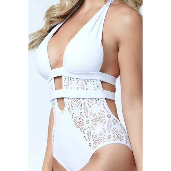White Lacy Lace One Piece Suit