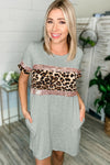 Sheena Sequin Leopard Print Short Sleeve Knit Dress