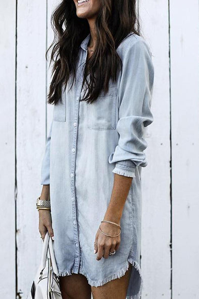 Jessy Sky Blue Denim Shirt Dress