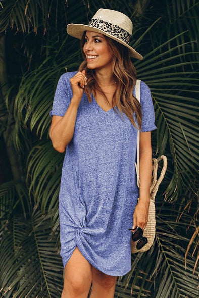 Skies Blue Side Knot T-shirt Dress