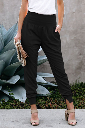 Her Black Pocketed Cotton Joggers