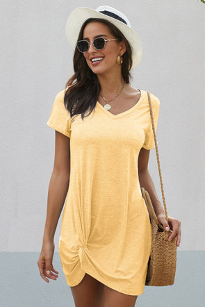 She Yellow Side Knot T Shirt Dress