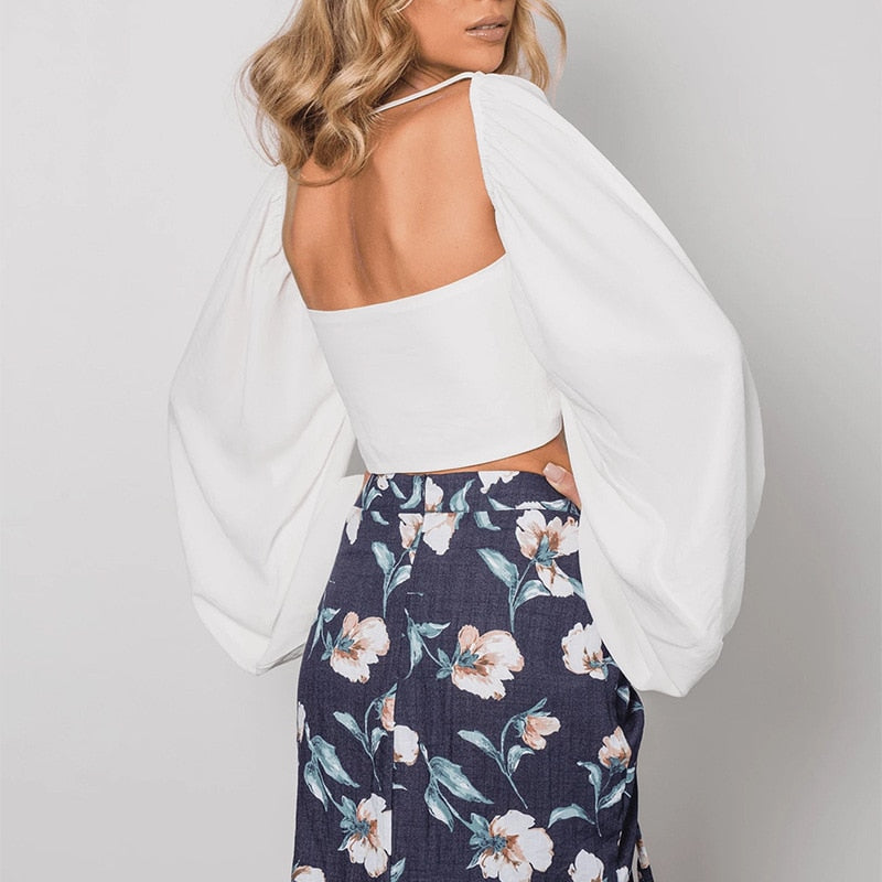 Top Cropped Backless Branco - Espavo store