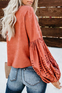 Blusa  Broadcloth Manga Lanterna Com Lese - Efashion
