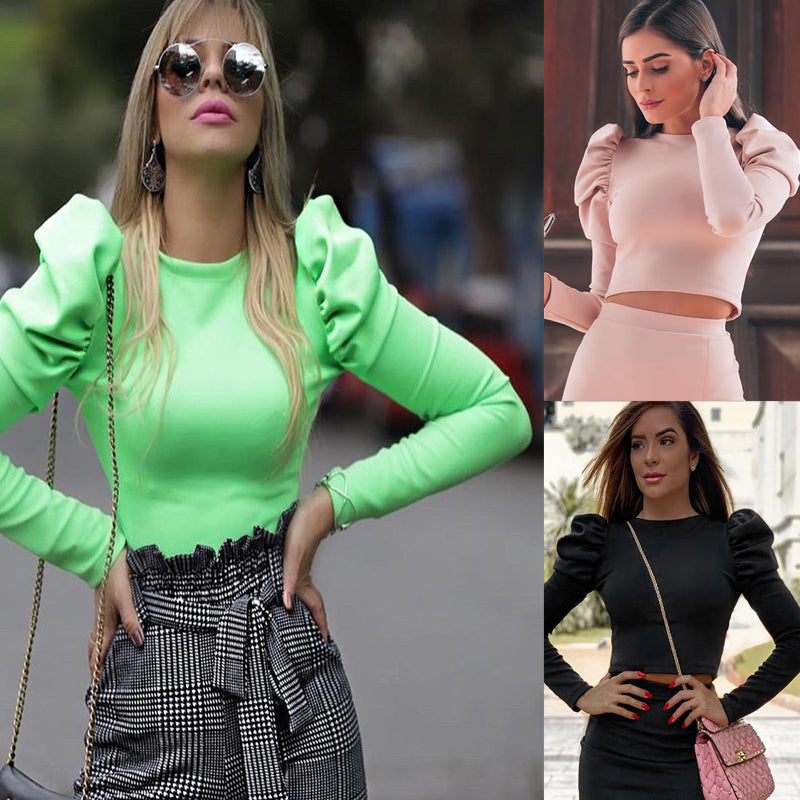 Blusa Feminina - Cropped  Manga Princesa - Efashion